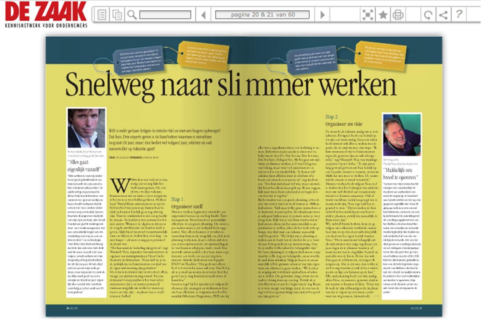 PA Online in De Zaak, 2010, Slimmer werken, page 1