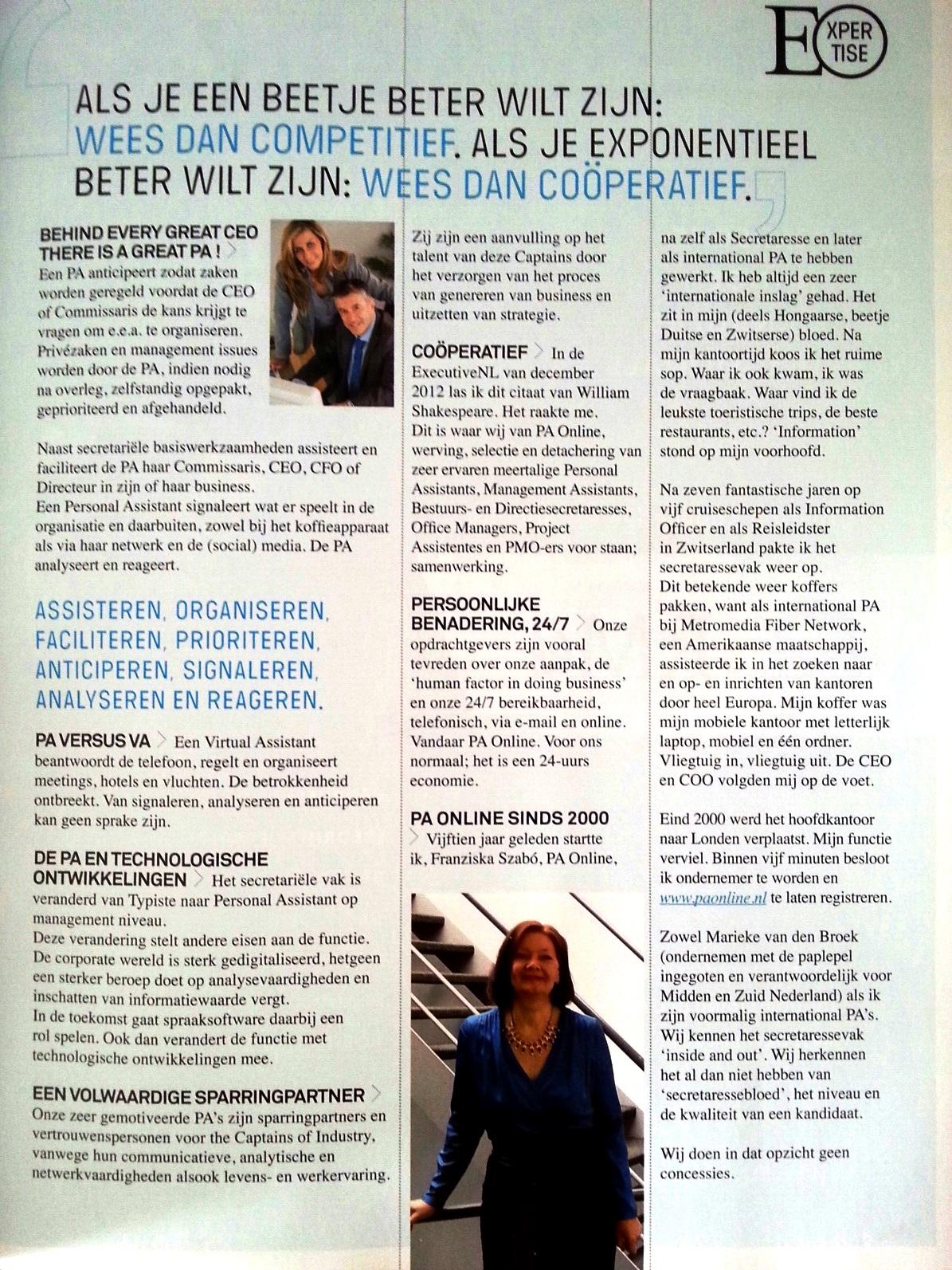 PA Online in ExecutiveNL Magazine van de Nederlandse Vereniging van Commissarissen en Directeuren, uitgave juni 2015