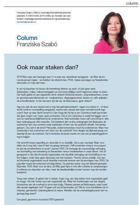 201906, Column Franziska 'Ook maar staken dan', Flexmarkt december 2019