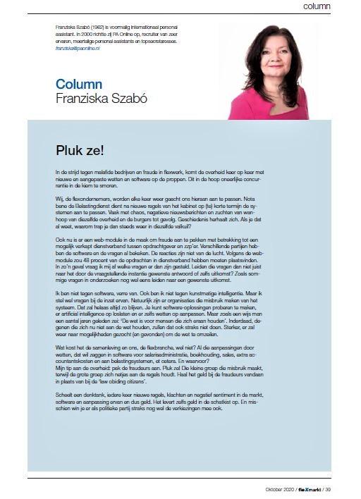 Column Franziska Szabo Pluk ze! Flexmart 5 2020