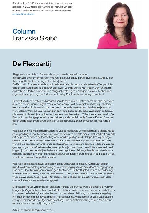 Column in 'De Flexmarkt': De Flexpartij